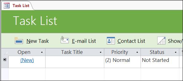 Borang senarai Tugas dalam templat pangkalan data Tugas Access
