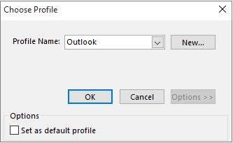 Terima seting lalai Outlook dalam kotak dialog Pilih profil