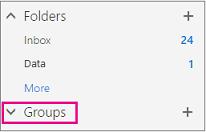 Anda akan menemui nod Kumpulan dalam navigasi kiri dalam Outlook pada web