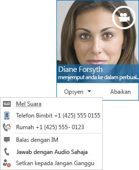 Petikan skrin isyarat panggilan video dengan gambar kenalan muncul di sudut atas