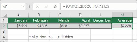 Menggunakan SUM dengan fungsi lain.  Formula dalam cellM2 adalah =SUM(A2:L2)/COUNTA(A2:L2).  Nota: lajur Mei-November tersembunyi untuk kejelasan.