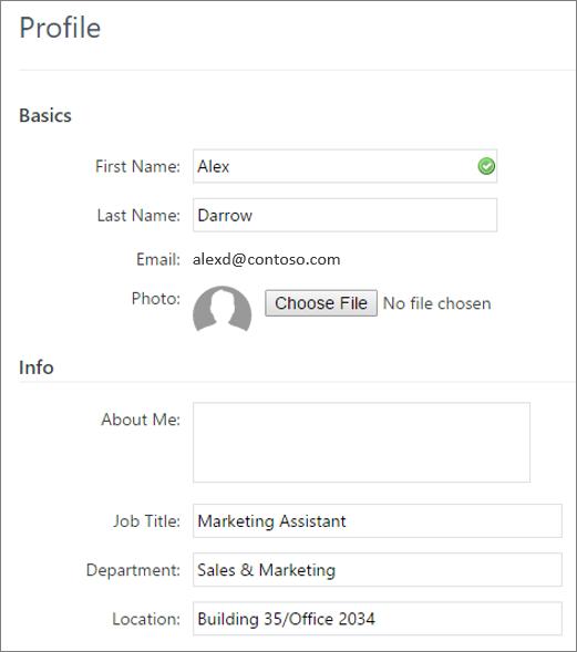 Petikan skrin mengedit profil pengguna Yammer
