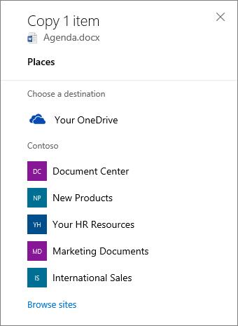 Petikan skrin yang memilih destinasi semasa menyalin fail pada dari OneDrive for Business ke laman SharePoint.