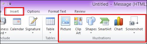 Outlook 2010 Selitkan Gambar