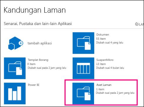Halaman Kandungan Laman pada laman ringkas dalam SharePoint Online, menyerlahkan jubin Aset Laman