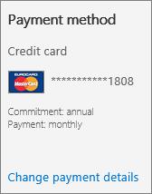Seksyen kaedah pembayaran Kad langganan untuk langganan yang membayar dengan kad kredit.