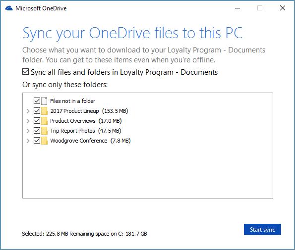 Petikan skrin kotak dialog yang membenarkan konfigurasi mana folder untuk menyegerakkan.