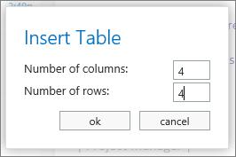 Alat untuk memasukkan bilangan baris dan lajur dalam jadual baru.
