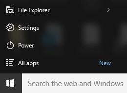 Seting Menu mula Windows 10 aplikasi