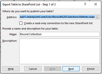 Mengeksport ke halaman kotak dialog SharePoint 1