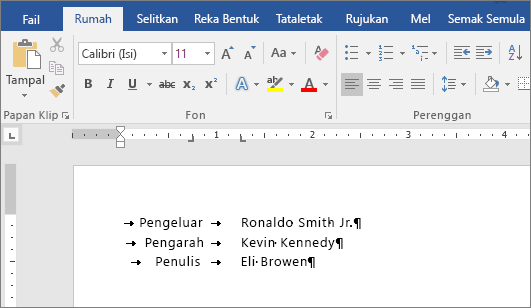 Contoh yang menunjukkan teks dijajarkan kepada hentian tab pada pembaris.