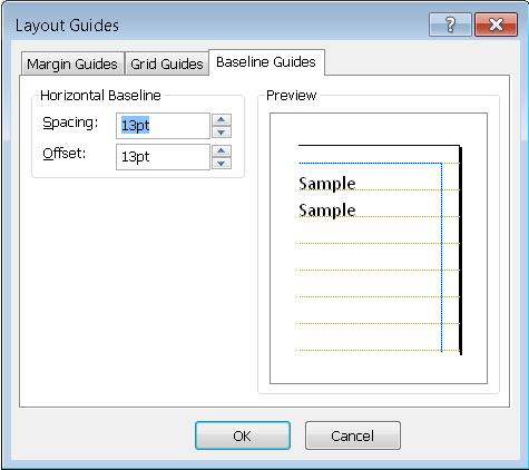 Dialog Panduan Tataletak Publisher menunjukkan tab Panduan Garis Asas