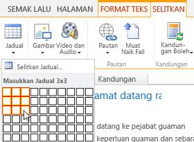 Menyelitkan jadual pada laman web awam SharePoint Online