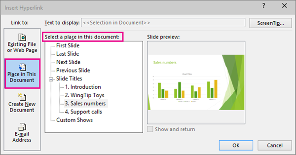 Menunjukkan kotak dialog dengan menyelitkan pautan dalam dokumen yang sama dipilih