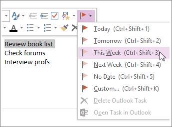Anda boleh mencipta tugas yang anda boleh jejak dalam Outlook.