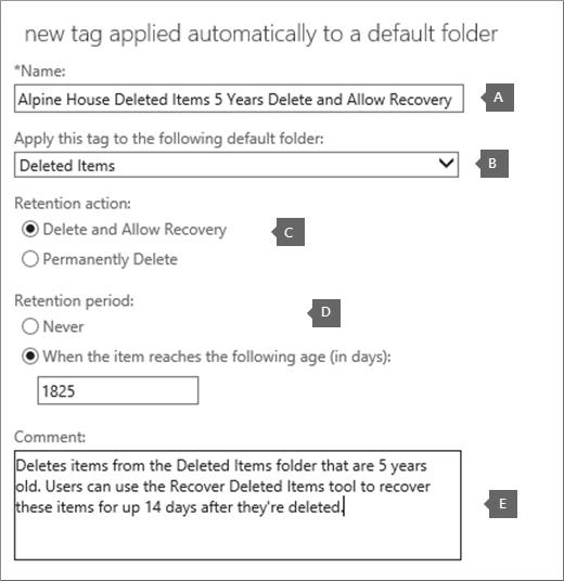 Seting untuk mencipta tag dasar pengekalan baru untuk folder item terpadam