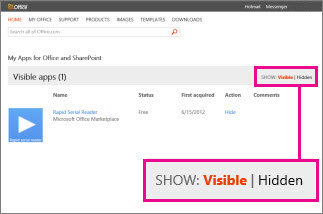 Menunjukkan aplikasi kelihatan atau tersembunyi untuk Office