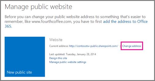 Uruskan laman web awam, menunjukkan Ubah lokasi alamat.