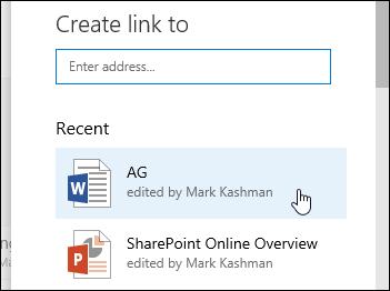 Menambah pautan dalam pustaka dokumen pada item baru-baru ini