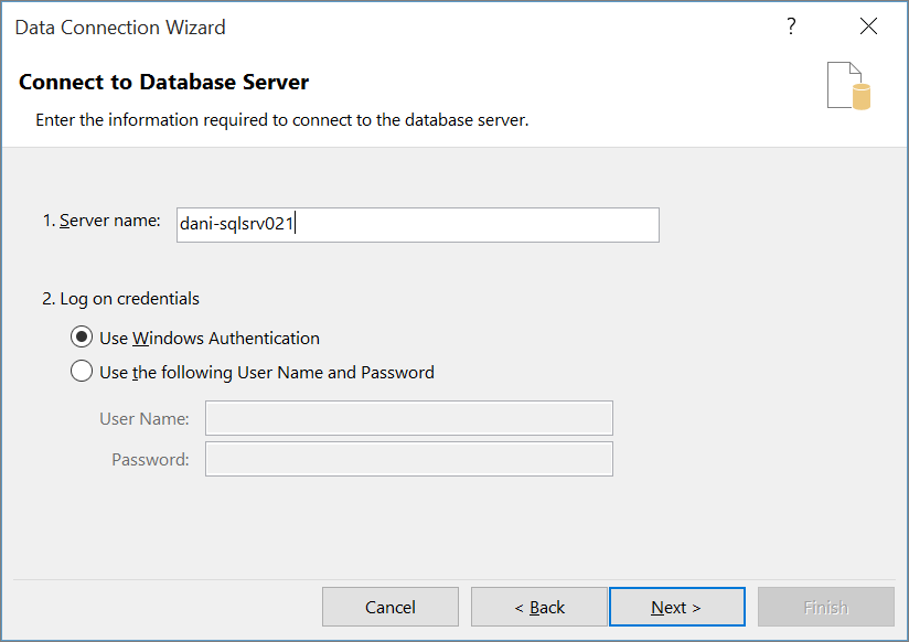 Menyambung ke Pelayan Pangkalan Data