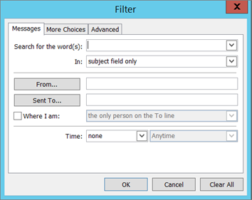 Pilih penapis jika anda ingin import hanya tertentu e-mel.