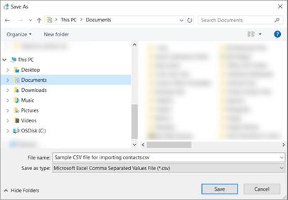 Apabila anda memuat turun fail .csv sampel, menyimpannya ke komputer anda sebagai jenis fail .csv.
