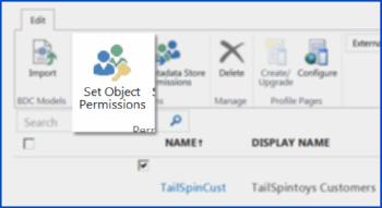 Petikan skrin Pusat Pentadbiran SharePoint Online di bawah BCS. Menunjukkan butang Setkan Keizinan Objek dalam reben.