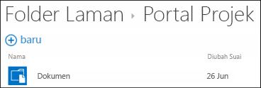 Pilih laman dalam senarai Folder Laman dalam Office 365 untuk melihat pustaka dokumen pada laman tersebut.