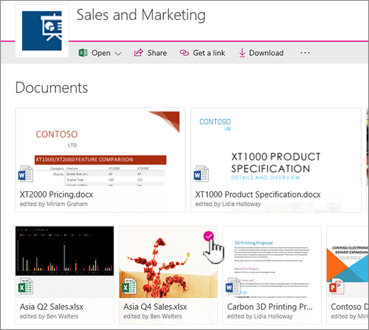 Perubahan menunjukkan fail yang dipilih dalam menu pustaka dokumen