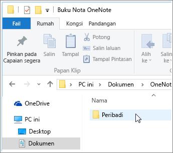 Petikan skrin folder Dokumen Windows dengan buku nota OneNote yang kelihatan.