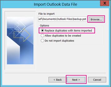Pilih fail .pst yang anda ingin import