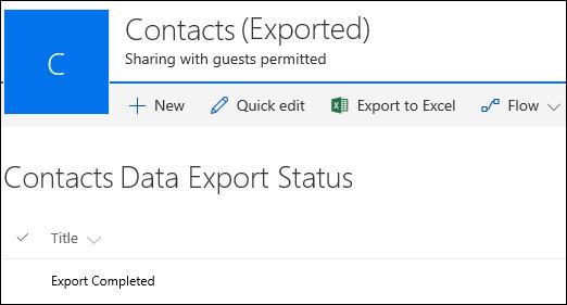 Senarai SharePoint dengan rekod bertajuk eksport selesai