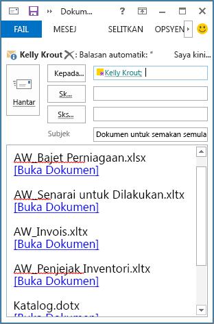 Pautan dokumen dalam mesej e-mel