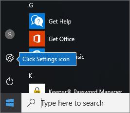 Dalam menu mula, klik ikon seting Windows