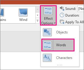 Menunjukkan menu opsyen kesan peralihan Morph dengan perkataan yang dipilih.