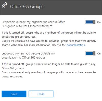 Membolehkan individu di luar organisasi mencapai Office 365 Kumpulan dan sumber saya
