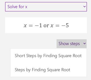 Butang langkah menunjukkan dalam anak tetingkap tugas matematik
