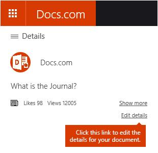 Mengedit butiran opsyen dalam Docs.com