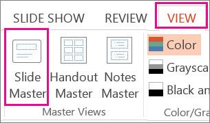 Pada tab Pandangan, klik Slaid Induk
