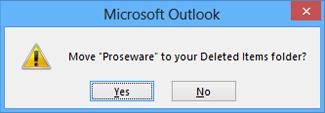 kotak dialog pengesahan padam folder