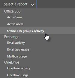 Petikan skrin: Pilih laporan - Kumpulan office 365