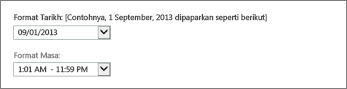 Seting format tarikh dan masa Outlook Web App