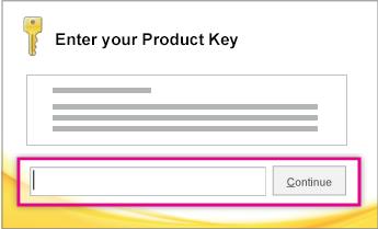 Masukkan kunci produk.