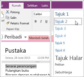 Petikan skrin menu juntai bawah Gaya dalam OneNote 2016.