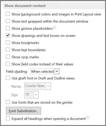 Opsyen tunjukkan kandungan dokumen Word 2013