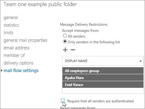 senarai penghantar dibenarkan tersuai bagi folder awam untuk membaiki DSN 5.7.135