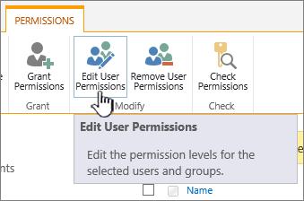Klik Edit keizinan untuk mengubah tahap keizinan