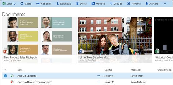 Menu dokumen dan folder Office 365