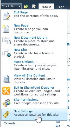 Seting Laman pada menu tindakan Laman