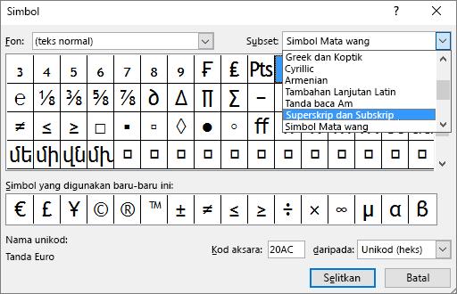 Menunjukkan subset Subskrip dan Superskrip dalam dialog Simbol dalam PowerPoint